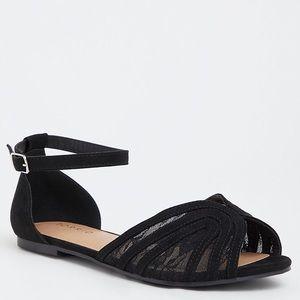 Torrid Black Lace Ankle Strap Flat New